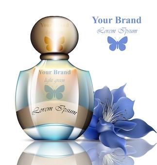 Bouteille de parfum réaliste. emballage du produit, logo papillon pour les marques, publicité, publicités