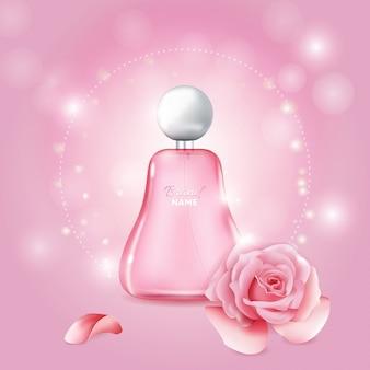 Bouteille de parfum de rose réaliste