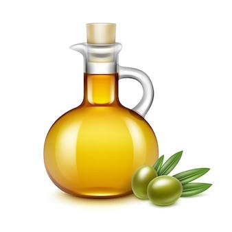 Bouteille de pichet en verre d'huile d'olive avec des branches d'olives sur les feuilles isolé sur blanc