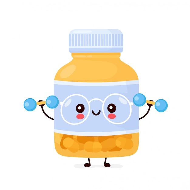 Bouteille de pilule drôle heureux mignon avec des haltères. conception d'icône illustration de personnage de dessin animé.