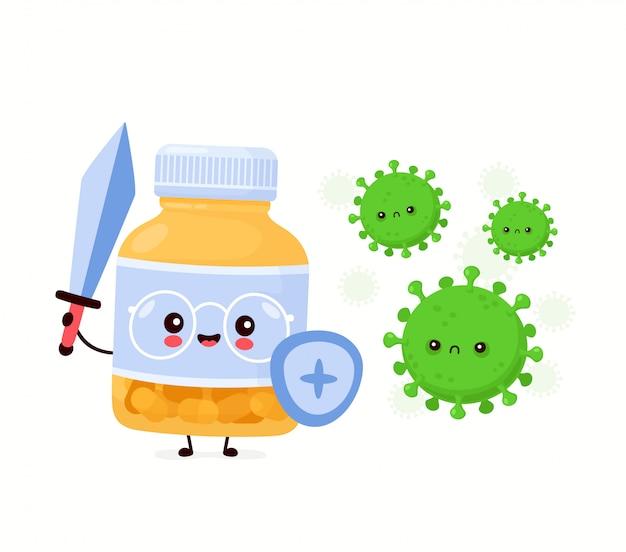 Bouteille de pilule drôle heureux mignon se battre avec le virus. conception d'icône illustration de personnage de dessin animé.