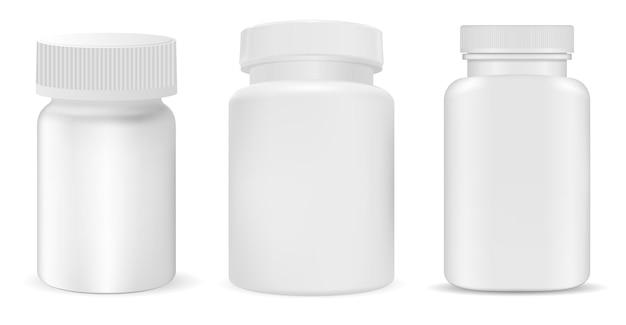 Bouteille de pilule en plastique blanc, pot de supplément, paquet de vitamines