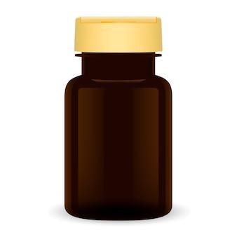 Bouteille de pilule en plastique brun. paquet médical 3d peut.