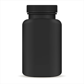 Bouteille de pilule en plastique. illustration vectorielle 3d noire. emballage de médicaments pour les pilules, capsules, médicaments. compléments de vie sportifs et de santé.