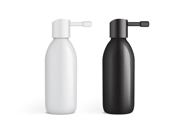Bouteille en plastique blanc et noir pour spray auriculaire isolé