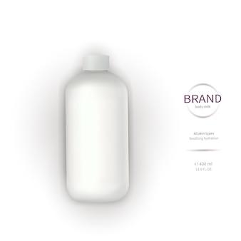 Bouteille en plastique blanche avec distributeur