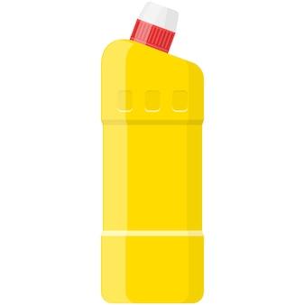 Bouteille en plastique avec un détergent chimique vecteur plus propre sur blanc