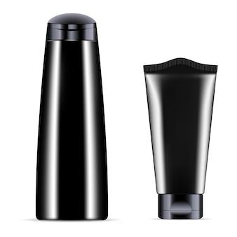 Bouteille en plastique noir pour illustration de récipient cosmétique