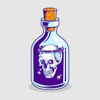 Bouteille de poison avec crâne à l'intérieur dessiné à la main