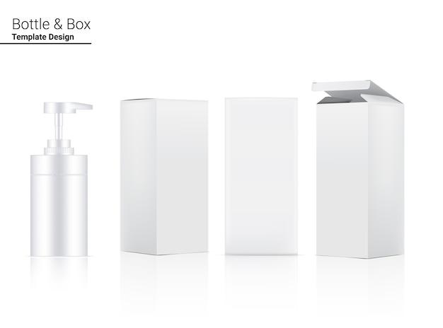 Bouteille de pompe brillante boîte cosmétique et dimensionnelle réaliste pour blanchir les soins de la peau et les produits anti-rides vieillissants sur fond blanc soins de santé et médical.