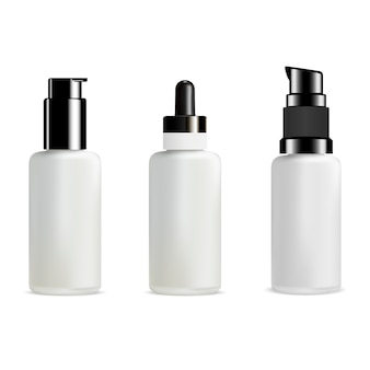 Bouteille de pompe. paquet de verre de distributeur de cosmétiques