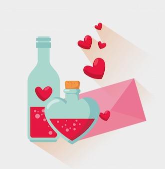 Bouteille de potion d'amour avec message de la saint-valentin