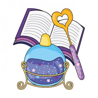 Bouteille de potion magique avec baguette et livre