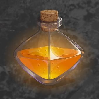 Bouteille avec une potion d'orange. icône de jeu de l'élixir magique.