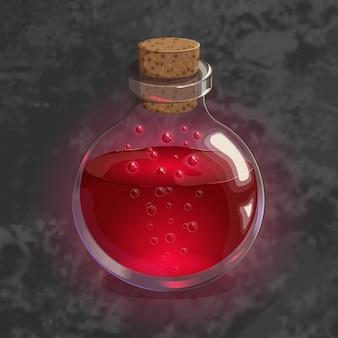 Bouteille avec potion rouge. icône de jeu de l'élixir magique.