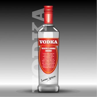Bouteille pour la vodka avec une étiquette rouge