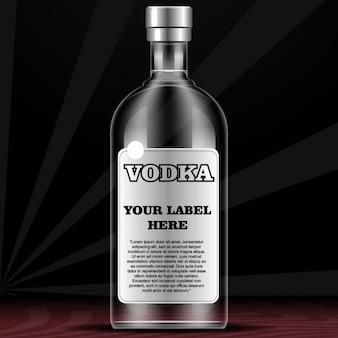 Bouteille pour la vodka avec l'étiquette