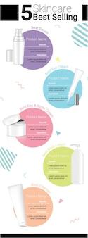 Bouteille de produit de beauté réaliste skincare maquette pour la publicité avec pastel