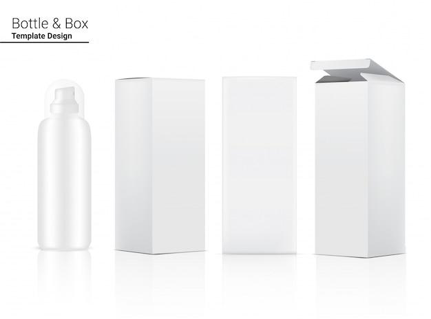 Bouteille de pulvérisation brillante maquette cosmétique réaliste et boîte tridimensionnelle pour blanchir les produits de soin et de vieillissement anti-rides sur fond blanc illustration. soins de santé et médicaux.
