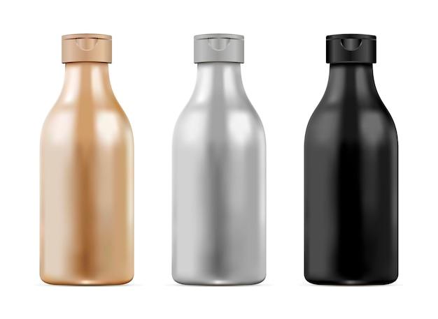 Bouteille réaliste 3d définie pour le shampooing, gel. cosmétique