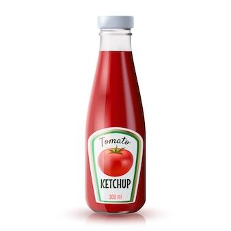 Bouteille réaliste de ketchup