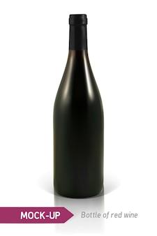 Bouteille réaliste de vin rouge sur fond blanc avec reflet et ombre