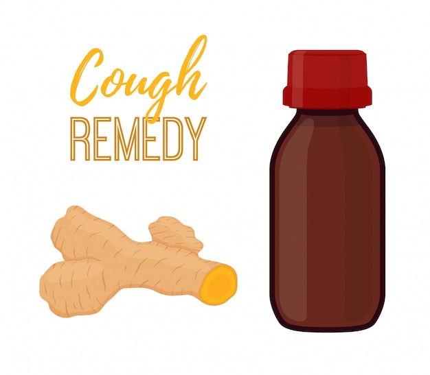 Bouteille avec remède contre la toux avec curcuma, liquide au curcuma