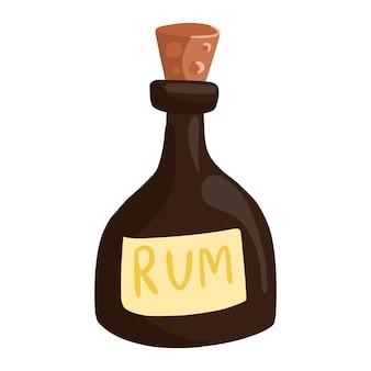 Bouteille de rhum isolé sur fond blanc. icône de boisson pirate. bouteille avec bouchon en bois