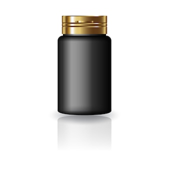 Bouteille ronde noire avec couvercle doré.