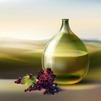 Bouteille ronde verte de vecteur de vin blanc et raisins rouges isolé sur fond avec vallée