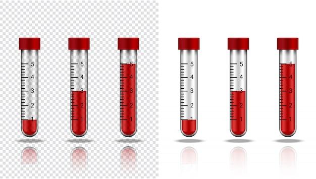 Bouteille de sang en tube à essai transparent réaliste en plastique ou en verre pour la science et l'apprentissage sur le blanc illustration soins de santé et médicaux