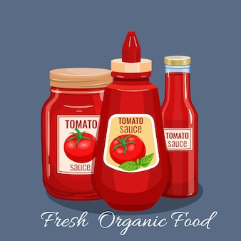 Bouteille de sauce tomate.