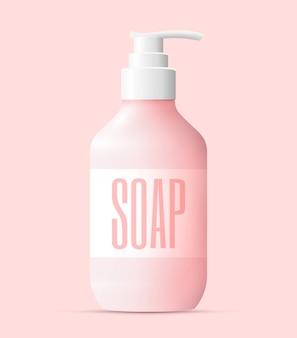 Bouteille de savon liquide rose réaliste avec pompe blanche. concept de lavage des mains. illustration