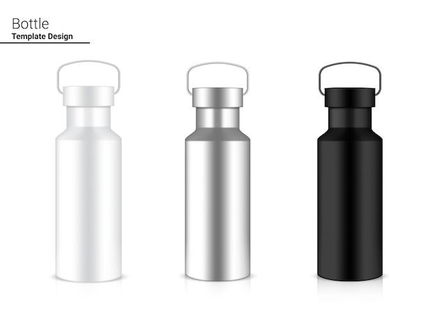 Bouteille shaker en plastique réaliste 3d pour l'eau et la boisson. conception de concept de vélo et de sport.