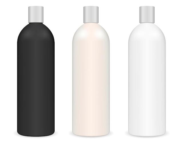 Bouteille de shampoing cosmétique tubulaire. forfait cylindre