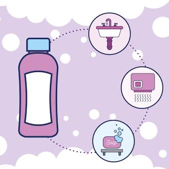 Bouteille shampoing lavabo sèche-mains et savon