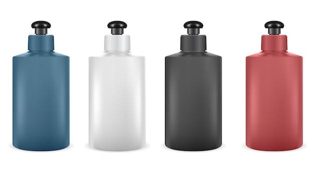 Bouteille de shampoing. paquet de lotion vide isolé