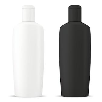 Bouteille de shampooing emballage vierge cosmétique en crème de douche de couleur noir et blanc ou modèle de tube de gel