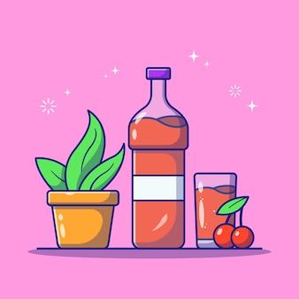 Bouteille de sirop de cerise fraîche avec verre et plante