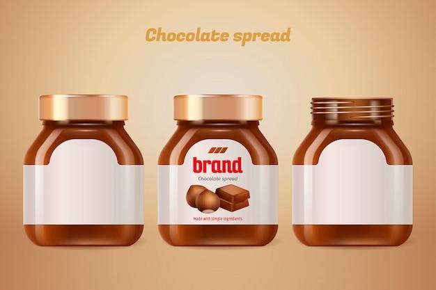 Bouteille à tartiner au chocolat avec étiquette vierge