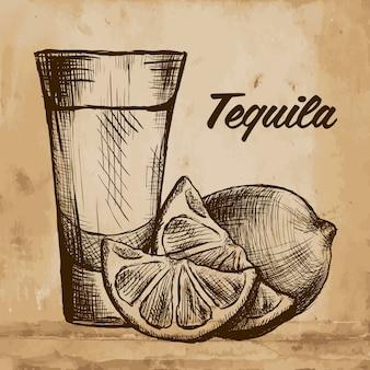 Bouteille de tequila avec de la chaux et du verre. peint à la main