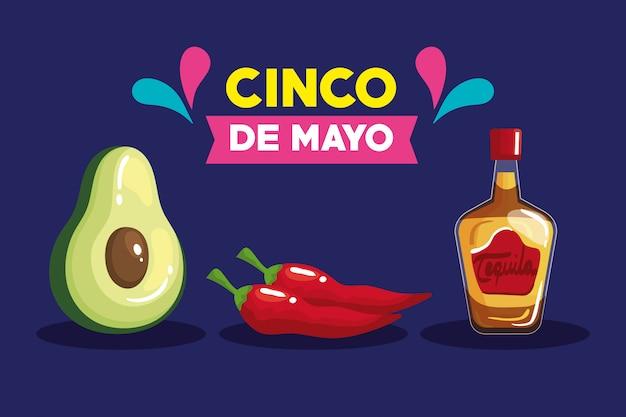 Bouteille de tequila mexicaine avocat et piments de cinco de mayo
