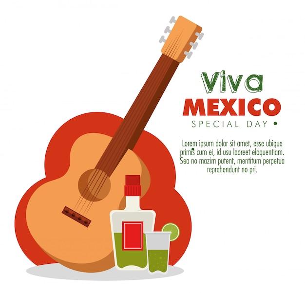 Bouteille de tequila avec verre et guitare au jour des morts