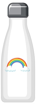 Une bouteille thermo blanche à motif arc-en-ciel