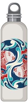 Une bouteille thermos blanche à motif carpe koi