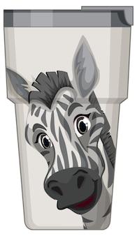 Une bouteille thermos blanche à motif zébré