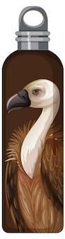 Une bouteille thermos marron avec motif vautour