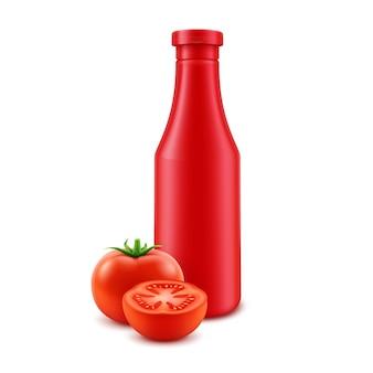 Bouteille de tomate en plastique blanc isolé sur blanc