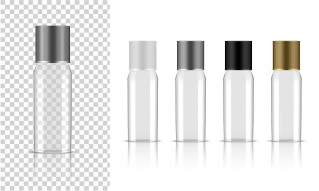 Bouteille transparente. produit de soin cosmétique réaliste
