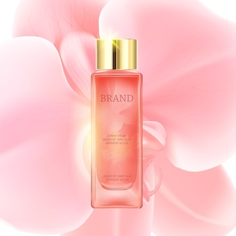 Bouteille transparente rose cosmétique de luxe